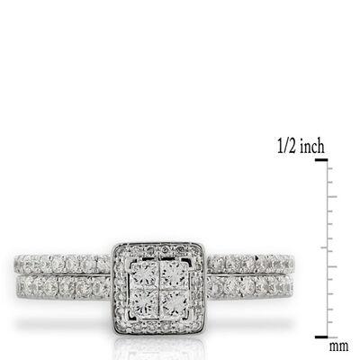 Princess Diamond Cluster Bridal Set 14K