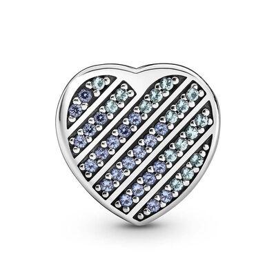 Pandora Reflexions Blue Pavé Crystal Heart Clip Charm