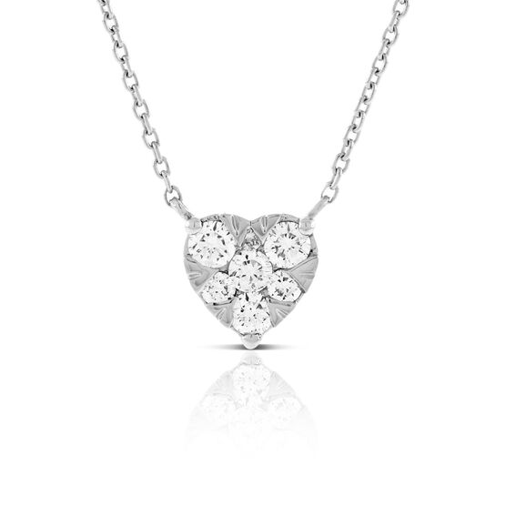 Cluster Diamond Heart Necklace 14K