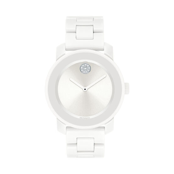 Movado Bold White Crystal, Ceramic, & Steel Watch