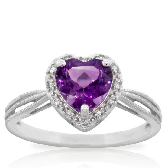 Heart Amethyst & Diamond Ring 14K