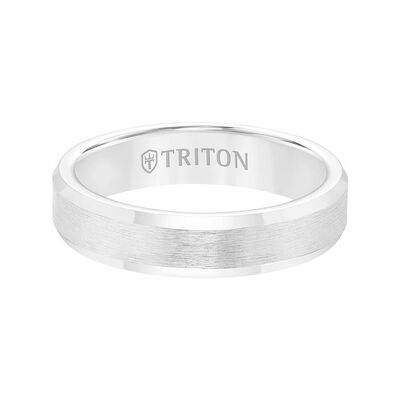 TRITON Contemporary Comfort Fit Brush Finish Band in White Tungsten, 5 mm