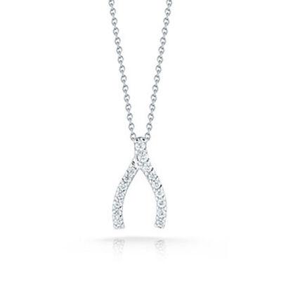 Roberto Coin Tiny Treasures Diamond Wishbone Pendant 18K