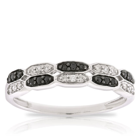 Black & White Diamond Brick Band 14K