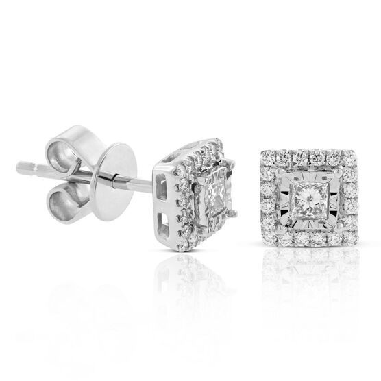 Diamond Halo Earrings 14K
