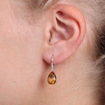 Pear Shaped Citrine & Diamond Earrings 14K