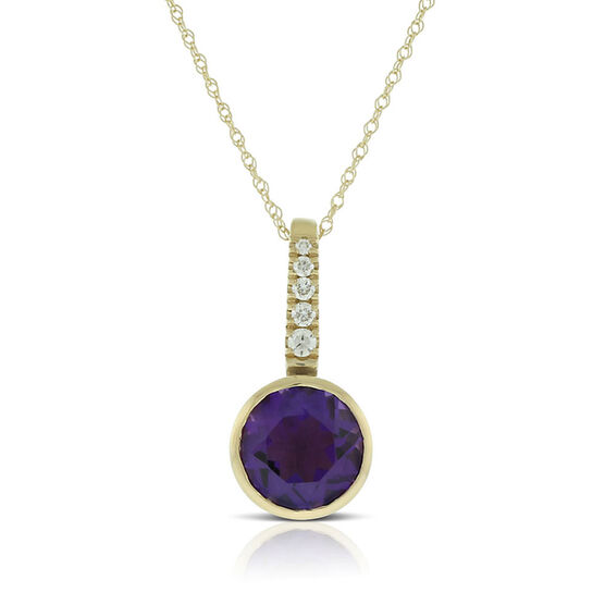 Bezel Set Amethyst & Diamond Necklace 14K