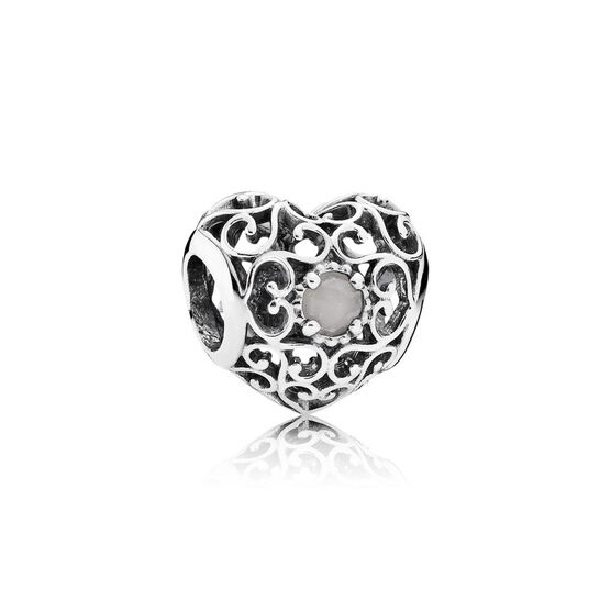 PANDORA June Signature Heart Charm