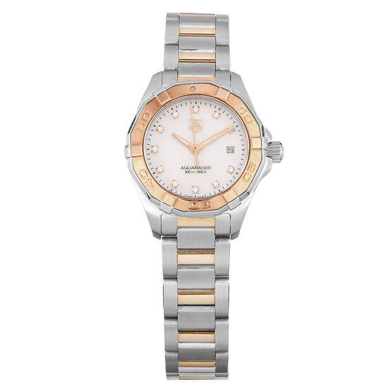 Pre-Owned TAG Heuer Aquaracer Mother of Pearl Dial Watch, 27mm, 18K & Steel