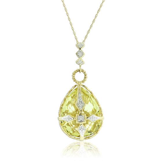 Quartz & Diamond Egg Necklace 14K