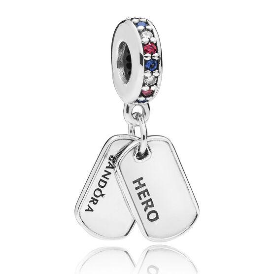 Pandora Hero Dog Tag Crystal & CZ Dangle Charm