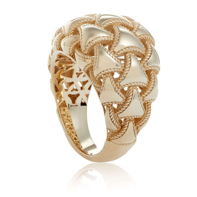 Toscano Woven Domed Ring 14K, Size 6