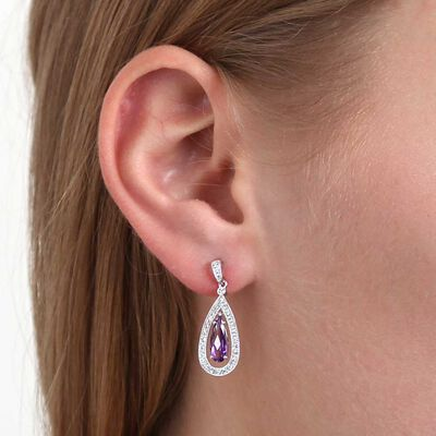 Pear Shaped Amethyst & Diamond Earrings 14K