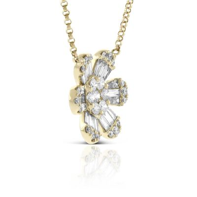 Six Petal Diamond Flower Necklace 14K