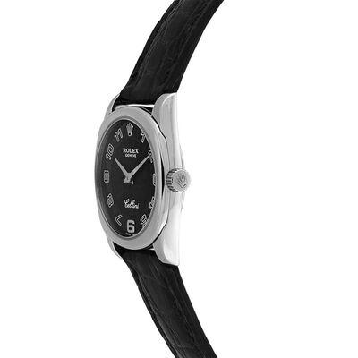 Pre-Owned Rolex Cellini Danaos Black Dial Watch, 24mm, 18K