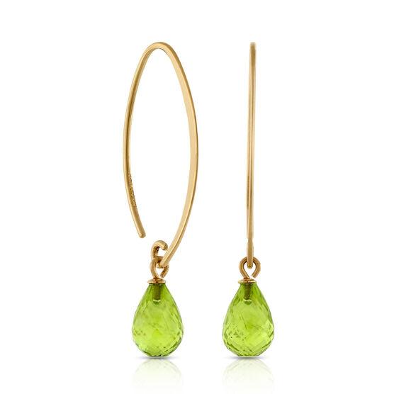 Peridot Drop Earrings 14K