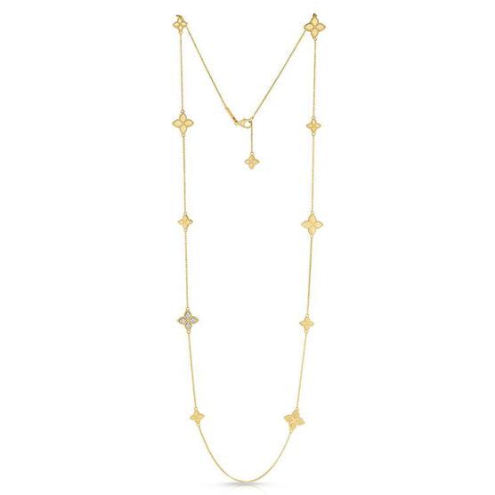 "Roberto Coin Princess Flower Diamond Station Necklace 18K, 34"""