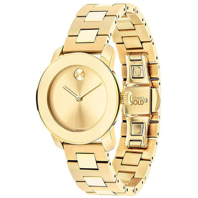 Movado Bold Gold IP Watch, 30mm