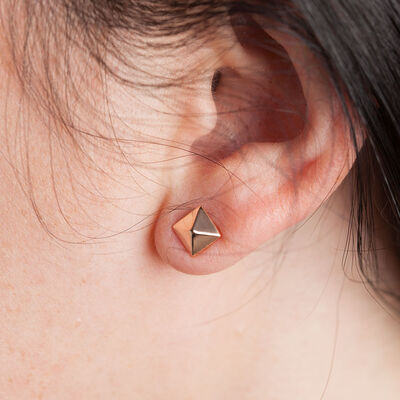 Rose Gold Pyramid Earring 14K