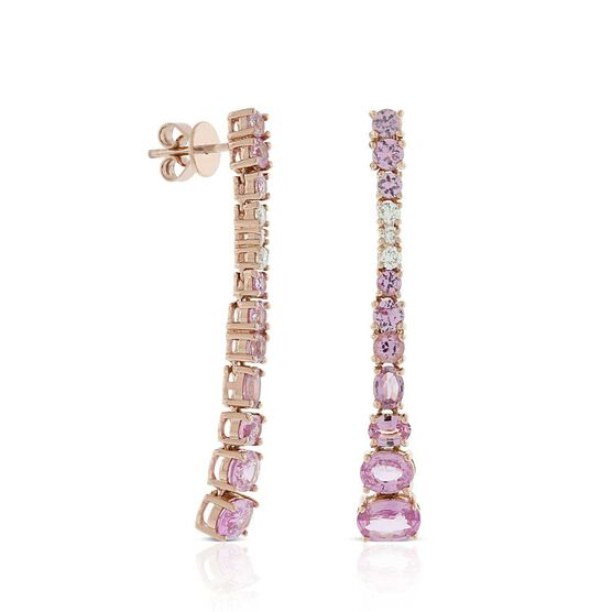 Rose Gold Graduated Color Pink Sapphire & Diamond Earrings 14K