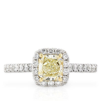 Radiant Cut Yellow Diamond Halo Ring .70 Ct. Center