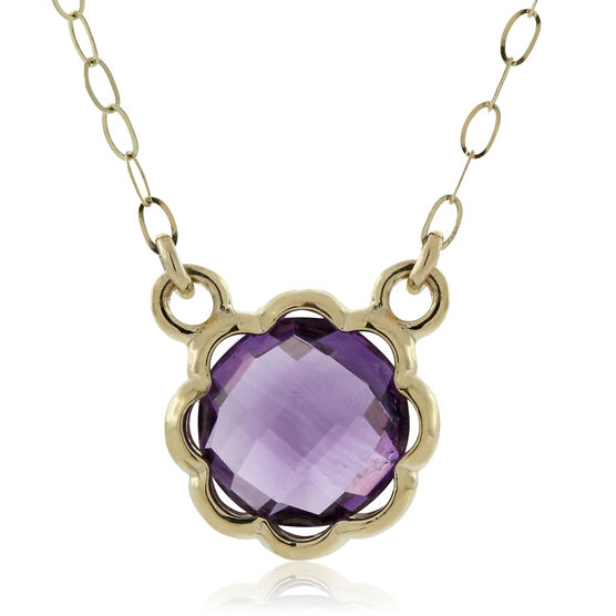 Scalloped Bezel Amethyst Necklace 14K