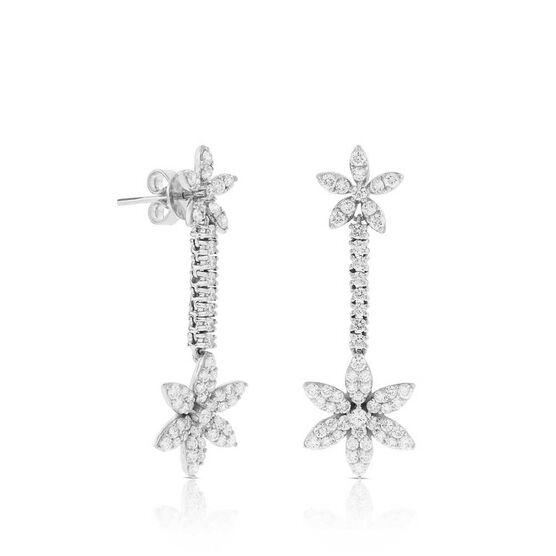Diamond Flower Dangle Earrings 14K