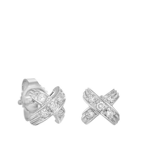 "Roberto Coin Tiny Treasures Diamond ""X"" Stud Earrings 18K"