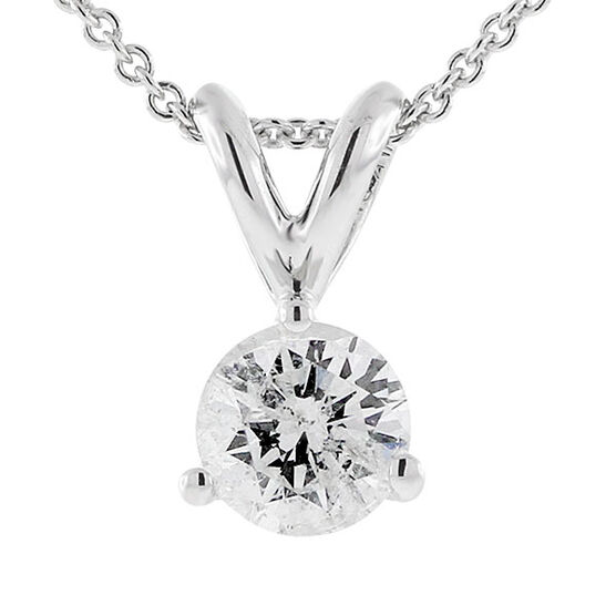 Diamond Solitaire Pendant, 14K, 1/2ct.