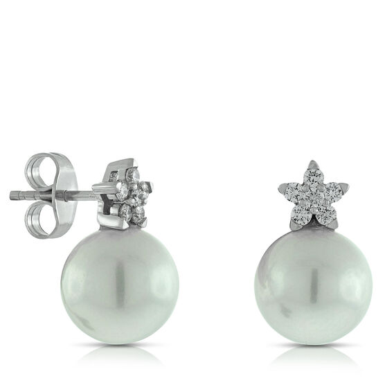 Cultured Freshwater Pearl & Diamond Flower Earrings 14K