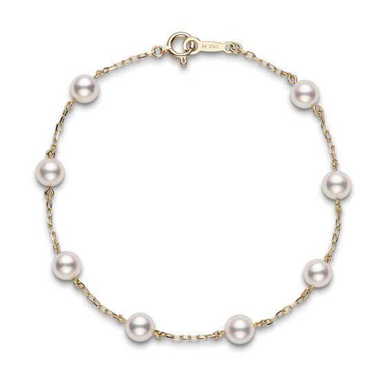 Mikimoto Akoya Cultured Pearl Station Bracelet 18K