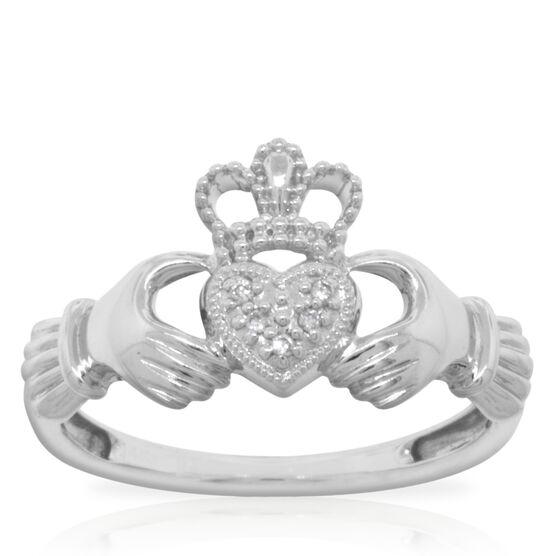 Claddagh Diamond Ring 14K