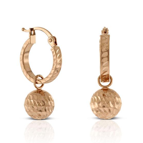 Rose Gold Diamond Cut Ball Drop Huggie Earrings 14K
