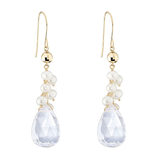 Quartz & Freshwater Cultured Pearl Earrings 14K