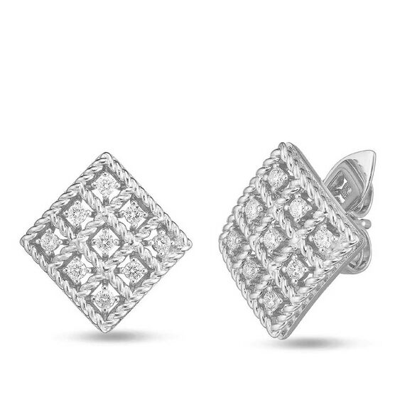 Roberto Coin Byzantine Barocco Diamond Square-Shaped Earrings 18K