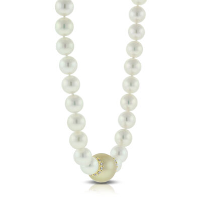 Mikimoto Cultured Akoya & Golden South Sea Pearl Necklace 18K