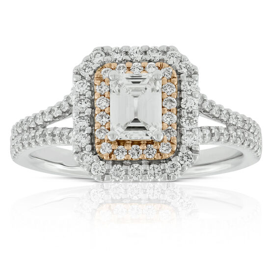 Emerald Cut Diamond Engagement  Ring 14K