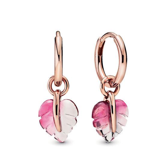 Pandora Rose™ Pandora Wonderland Pink Murano Glass Leaf Hoop Earrings