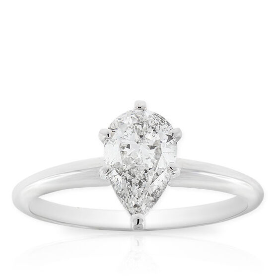 Pear Cut Solitaire Ring 14K, 1 ct.