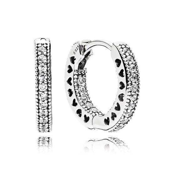 PANDORA Hearts of PANDORA CZ Hoop Earrings 15 MM