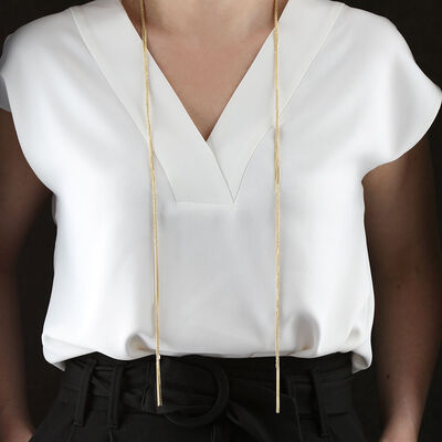 "Toscano Multi-Strand Tassel Scarf Necklace 14K, 40"""