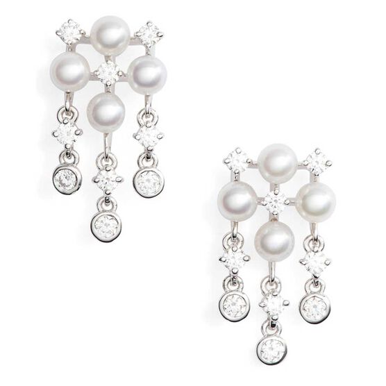 Mikimoto Akoya Cultured Pearl & Diamond Earrings 18K