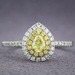 Pear Shape Yellow Diamond Halo Ring 14K