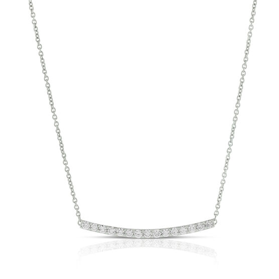 Curved Bar Diamond Necklace, 14K
