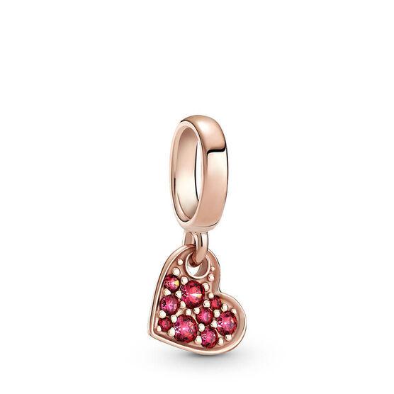 Pandora Red Pavé CZ Tilted Heart Dangle Charm