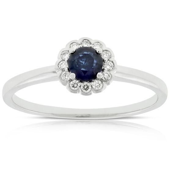 Sapphire & Diamond Ring 14K
