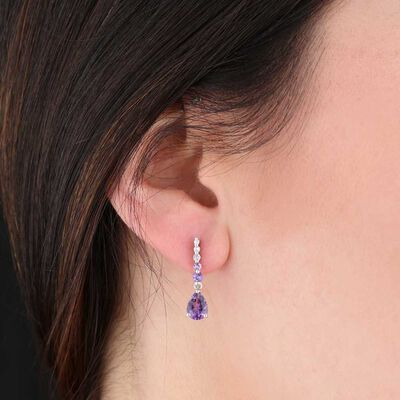Amethyst & White Sapphire Earrings 14K