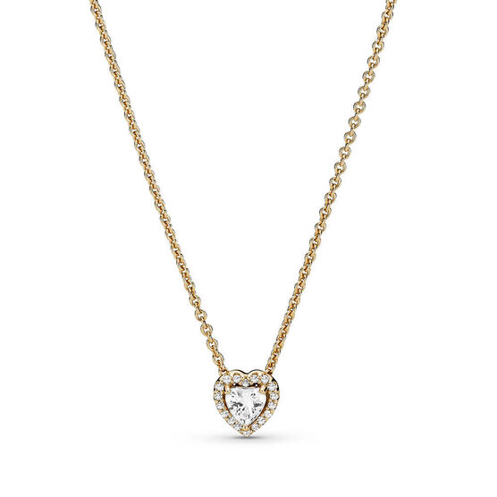 Pandora Elevated Heart CZ Necklace 14K