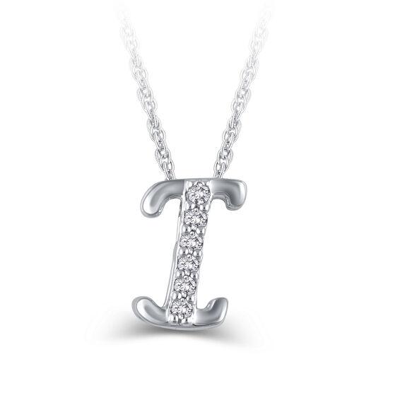 """Diamond """"I"""" Initial Pendant 14K"""