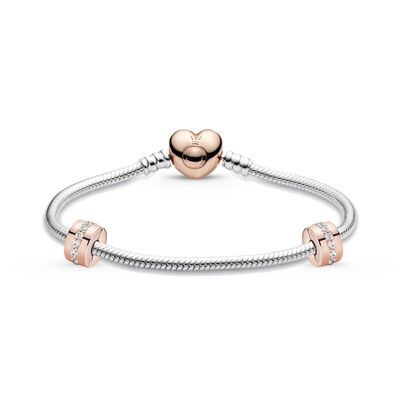 Pandora Iconic Rose Gold Heart Clasp Bracelet & CZ Clips Gift Set with Free Charm